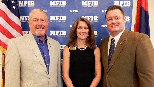 NFIB/Arizona Leadership Council Chair Mark Giebelhaus and NFIB/Arizona State Director Farrell Quinlan flank LD18 House hopeful Jill Norgaard at the small business group's Small Business Forum this week.